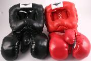 16OZ BLACK, RED BOXING GLOVES + 2 HEAD GEAR!